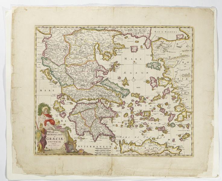 Karta över Grekland och dess arkipelag, ca 1630-1706./ Map of Greece with archipelago.