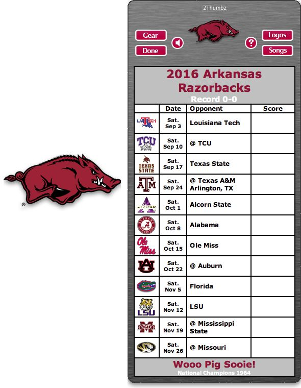 Get your 2016 Arkansas Razorbacks Football Schedule App for Mac OS X - Wooo Pig Sooie!  - National Champions 1964 http://2thumbzmac.com/teamPages/Arkansas_Razorbacks.htm