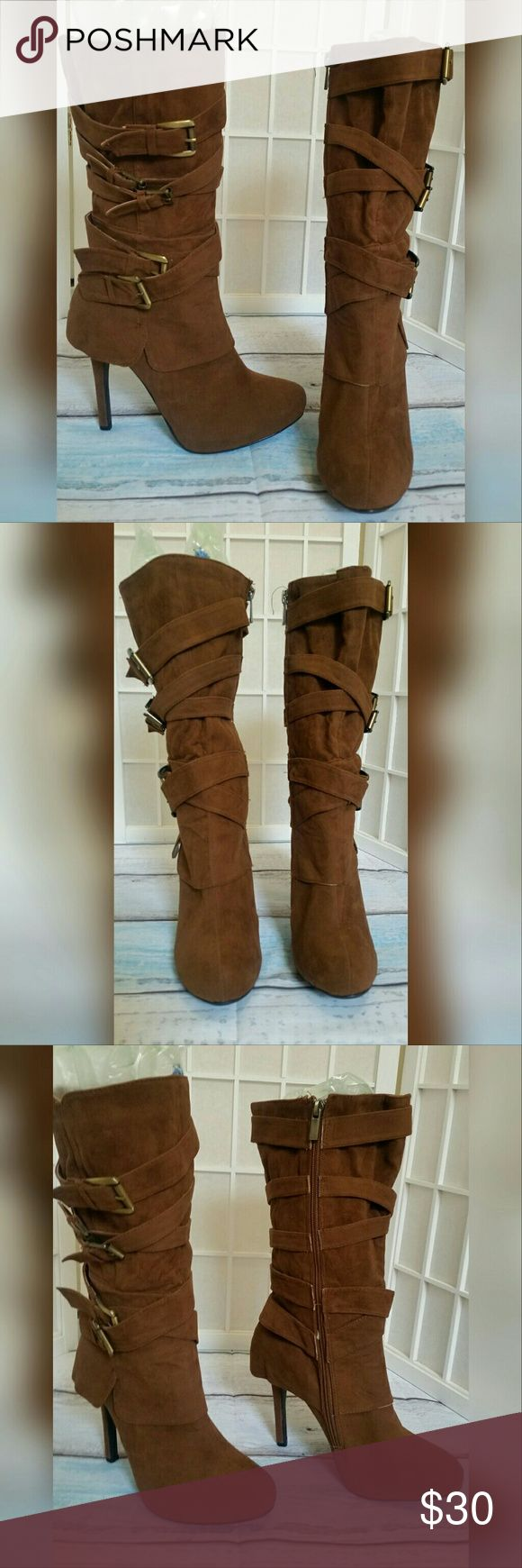 New Anne Michelle brown boot w/buckles  9 New Anne Michelle brown boot w /buckles 9  Good condition   All man made materials   Heel is aprox. 4.5in. Front platform is aprox. 1in.  😇Selling for a friends mother Anne Michelle Shoes Heeled Boots