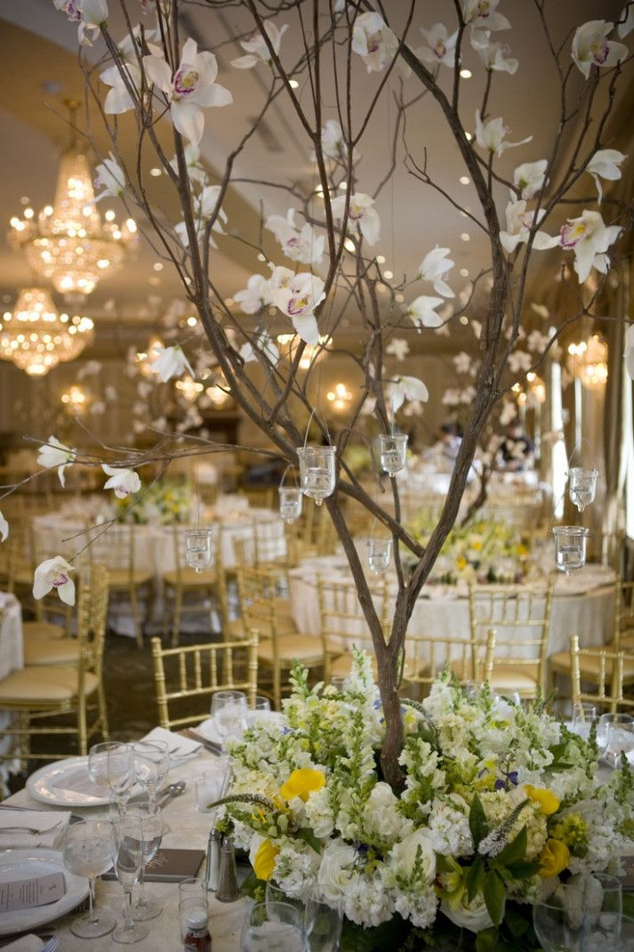Wedding Centerpieces Tree Floral Arrangements Summer Wedding
