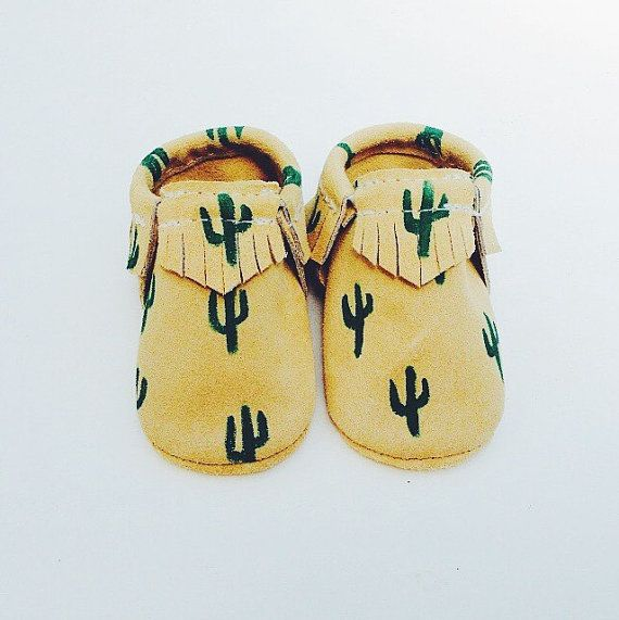 """Brown suede """"nopal"""" hand painted Mocc baby/toddler moccasins"""
