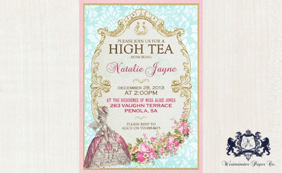 Marie Antoinette High Tea Invitation French Tea Party For Bridal Shower or Birthday on Etsy, $20.00 AUD