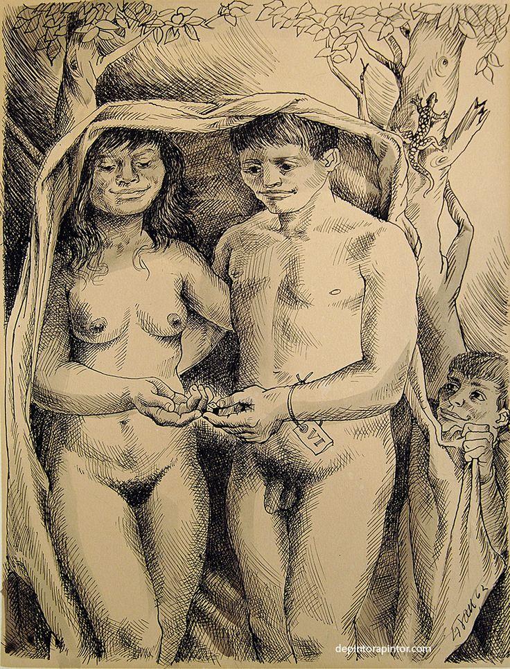 los amantes, Enrique Grau, tinta/papel