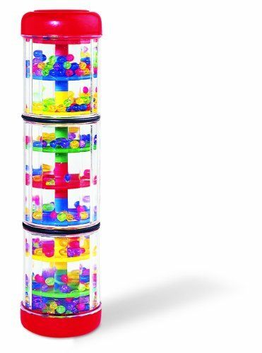 """Rainfall Rattle by Discovery Toys by Discovery Toys. $15.99. Treat little eyes and ears to a stream of colorful, cascading beads. Turn or tilt it just a little bit, then watch and listen! The beads fall gently from end-to-end, through the 8 levels and then back again in this fascinating musical toy. 8"""" / 20.3 cm long.. Save 20% Off!"""