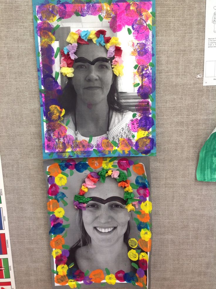 Preschool study of Mexican artist Frida Kahlo...we took photos of the students; printed them out; and they added bird-like eyebrows, tissue paper flowers, and painted flowers around the edge.  Came out so cute and they laughed all the way!