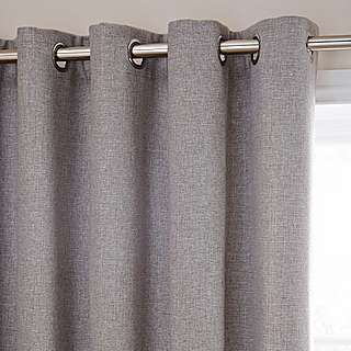 Harris Grey Thermal Eyelet Curtains   Dunelm
