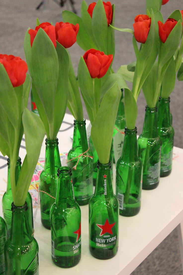 Green glass with Red  Tulips