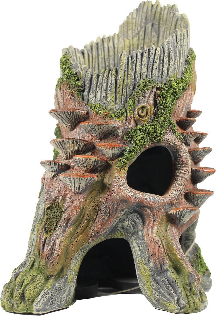 Dragon fish tank ornament - Old Log Hide Vertical Aquarium Ornament
