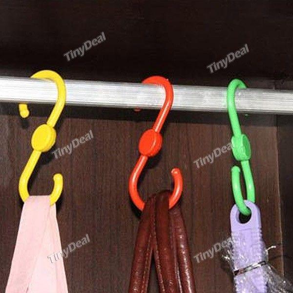 3pcs Practical Torsional S Style Plastic Velcro Enclosure Goat Hanger Clasp Hook - Color Assorted HLI-141883