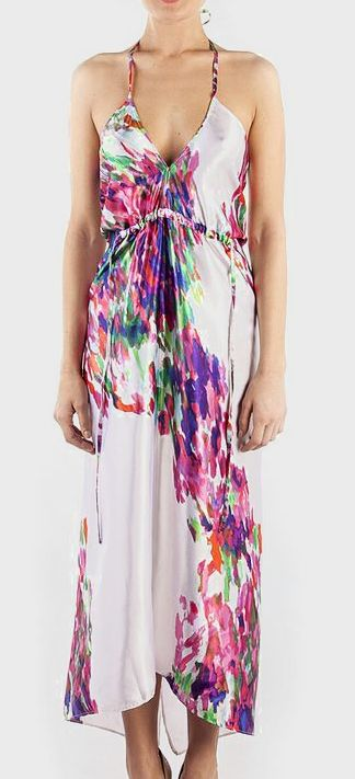 Coral modern flower grand halter dress women s fashion pinterest