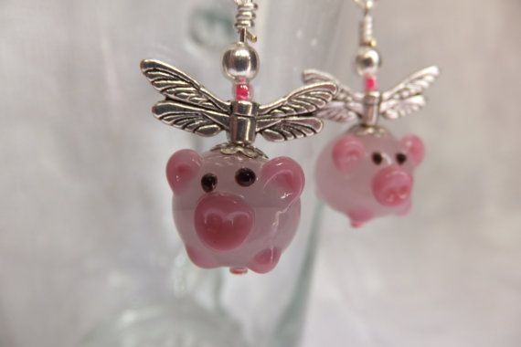 PIGS MIGHT FLY Pink Lampwork Sterling Silver Hook by Neckcessorize, £7.50