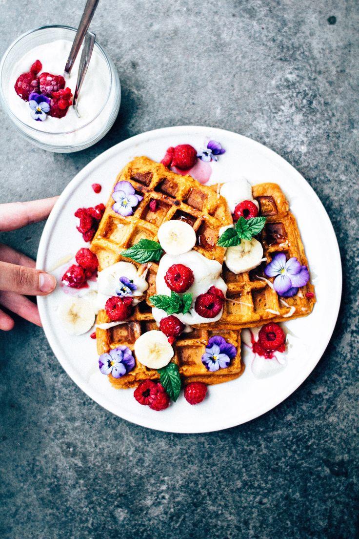 sweet potato waffles & cashew cream