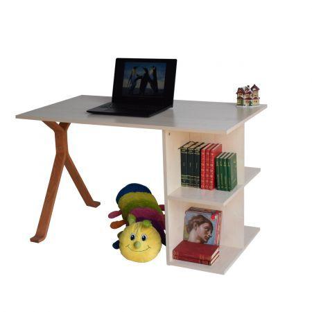 Birou de lucru cu rafturi, din pal melaminat, potrivit atat pentru utilizarea in casa cat si la birou. Mobilier simplu cu design inteligent ofera spatiul necesar pentru depozitarea cartilor, bibliorafturi, mape, etc. Blatul cu dimensiuni generoase ofera un spatiu de lucru confortabil. Dimensiuni: lungime 120 cm, latime 65 cm, inaltime 75 cm Culoare:Mesteacan, picior bambus
