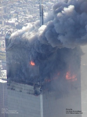 NYPD World Trade Center 9/11 Aerials - who could survive all the fire?