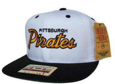 5beb6617a51 PITTSBURGH PIRATES 2 Tone Script Retro Old School Snapback Hat - MLB Cap -  Original TAG - 2 Tone White Black  Amazon.co.uk  Sports   O…