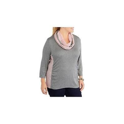 Extra Touch Women's V-Neck Side Ruched Crochet Lace Top W/ Scarf, 2X, Heather G