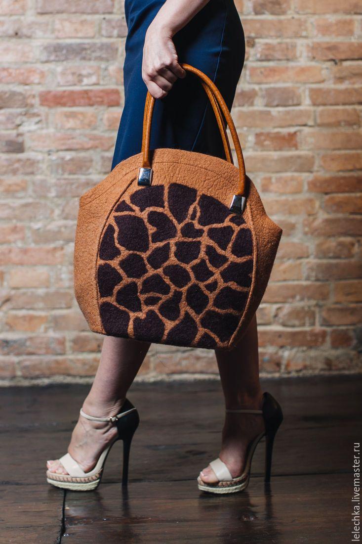 """felted bag / Купить Сумка """"Жираф"""" - жираф, сумка ручной работы, звериная расцветка, сумка, сумка с декором"""