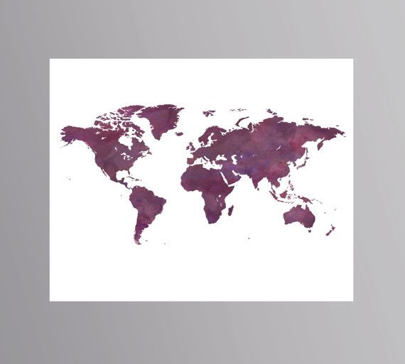 Galaxy Purple World Map Space Print Travel Wall Art Gift Large