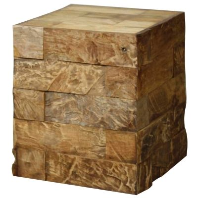 Circa  Recycled Teak Wood End Table, Natural