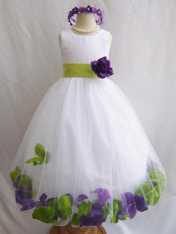 COULEUR personnalisée - Flower Girl Dress - robe pétale de Rose - mariage, Pâques, demoiselle d'honneur Junior, robe de fille formel, considérant (FGPT)