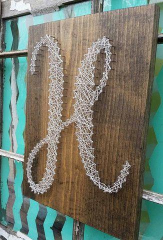 String Art Initial, Custom Monogram Sign, H Sign, Housewarming Gift, Nail Art Letter, Wedding Gift Sign, Custom Made Wood Sign, 3D Wall Art