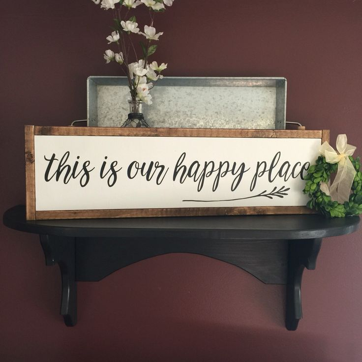 "This is our happy place | framed sign | farmhouse style | family sign | living room | 26x 8"" by MyCraftShed on Etsy"