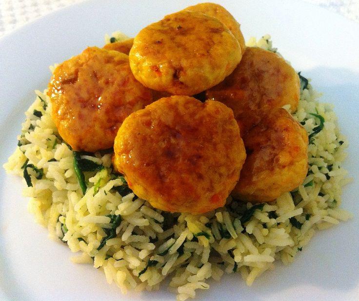 Ricetta light polpette di pollo, riso basmati e spinaci