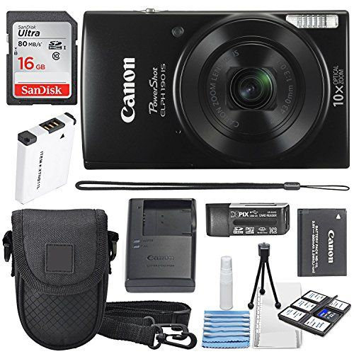 Canon PowerShot ELPH 190 IS Digital Camera (Black) with 10x Optical Zoom and Built-In Wi-Fi with 16GB SDHC + Replacement battery + Protective camera case Along with Deluxe Cleaning Bundle #Canon #PowerShot #ELPH #Digital #Camera #(Black) #with #Optical #Zoom #Built #SDHC #Replacement #battery #Protective #camera #case #Along #Deluxe #Cleaning #Bundle