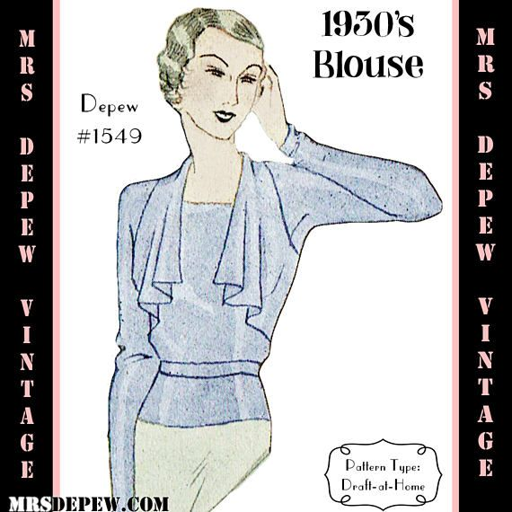 Vintage Sewing Pattern 1930's Blouse in Any Size Depew 1549 Draft at Home Pattern