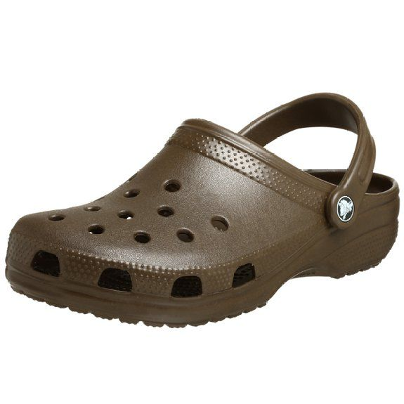 Crocs Classic Clog, Chocolate, Women's 11 US M / Men's 9 US M Clog  featuring perforated upper and textured trim and heel Removable back strap  for slip-on ...