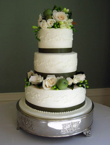 Scrolls Ribbon Border Flowers And Fruit Design By Specialty Wedding Cakes Providing