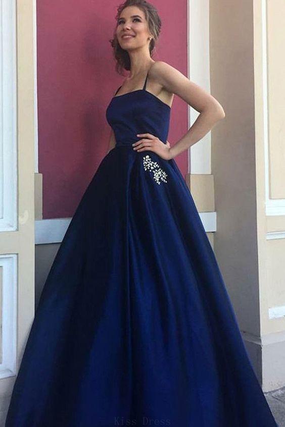 4c1c29437c0 Cheap Feminine Prom Dresses Blue Elegant A-Line Spaghetti Straps Dark Blue  Satin