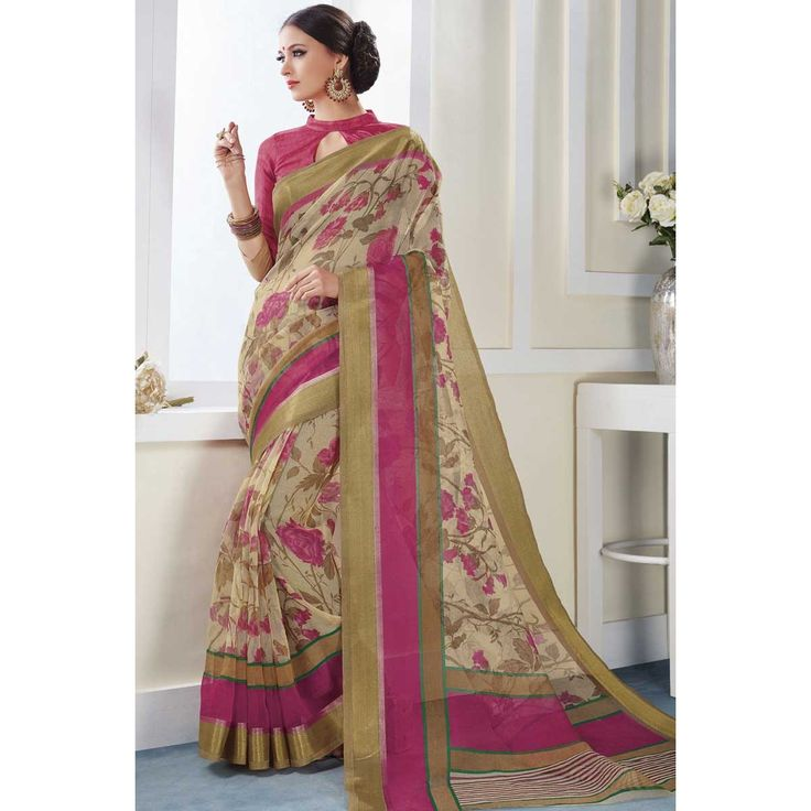 Latest saree online, Cream and Pink art silk latest sarees,  round neck blouse now in shop. Andaaz Fashion brings latest designer ethnic wear collection in UK