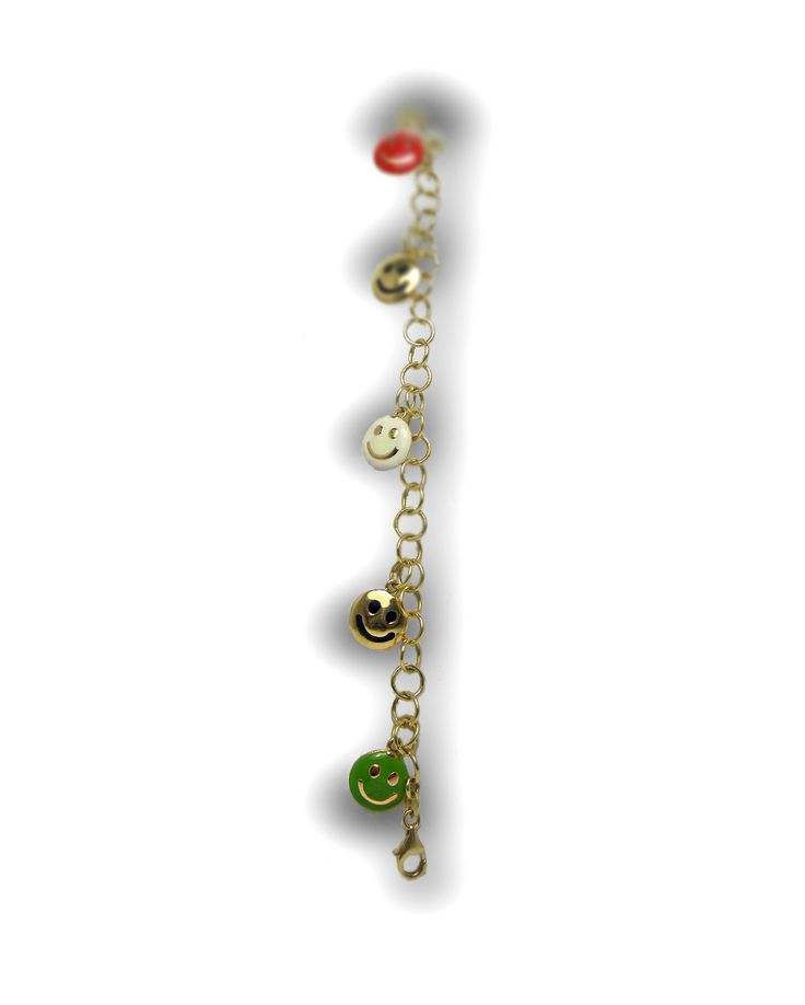 Bracelet en or jaune motif smiley en émail et or jaune poids total : 8,90 grs