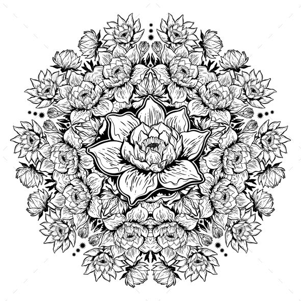 Lotus Lily Water Flower Mandala Asian Nature Vector Eps