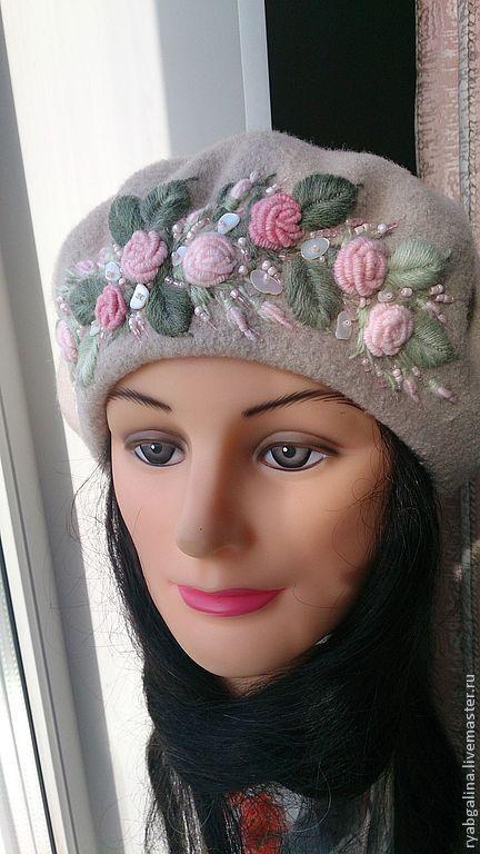 """Купить Берет """"Розовые розы"""" - бежевый, цветочный, вышивка ручная, берет, берет женский, подарок"""