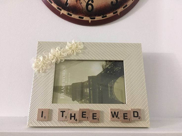 Off White Color Detailed Plastic Picture Frame - OUR THEE WED - Scrabble Tile Letters - Family Picture Frame - Home Decor - Floral Ribbon by AdorablySBoutique on Etsy