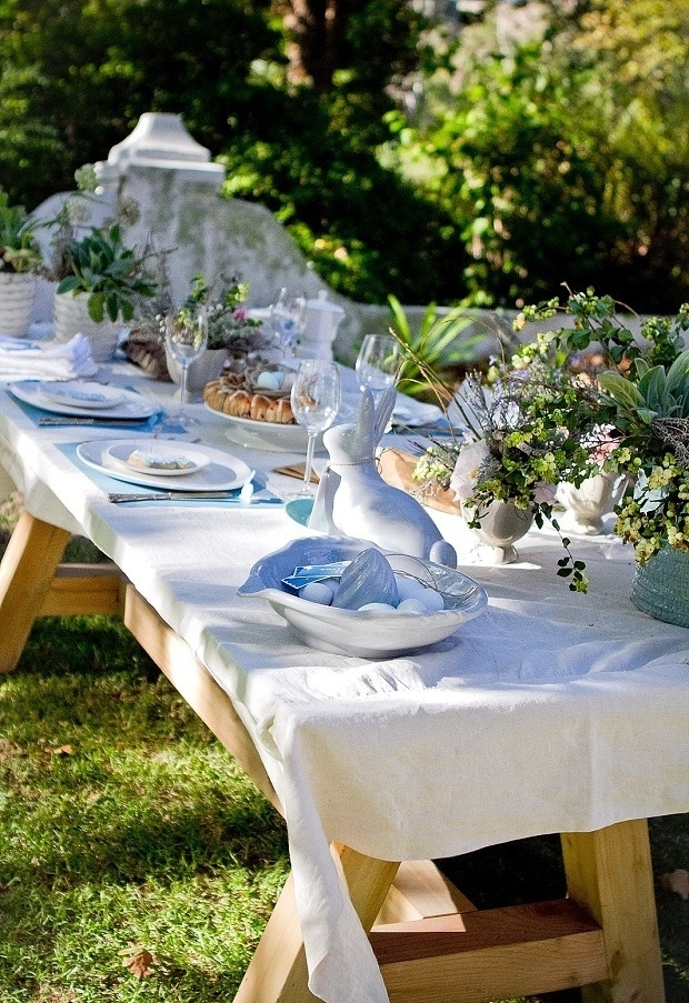 Easter table - love how relaxed this looks - not so contrived.