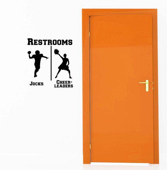 Bathroom restrooms sign men women sports jock for Bathroom accessories for men