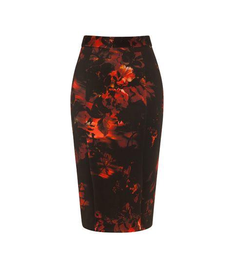 CUE - Floral Scuba Pencil Skirt