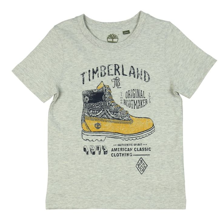 Boy's Grey T-Shirt with Boot Print. Now available at www.chocolateclothing.co.uk