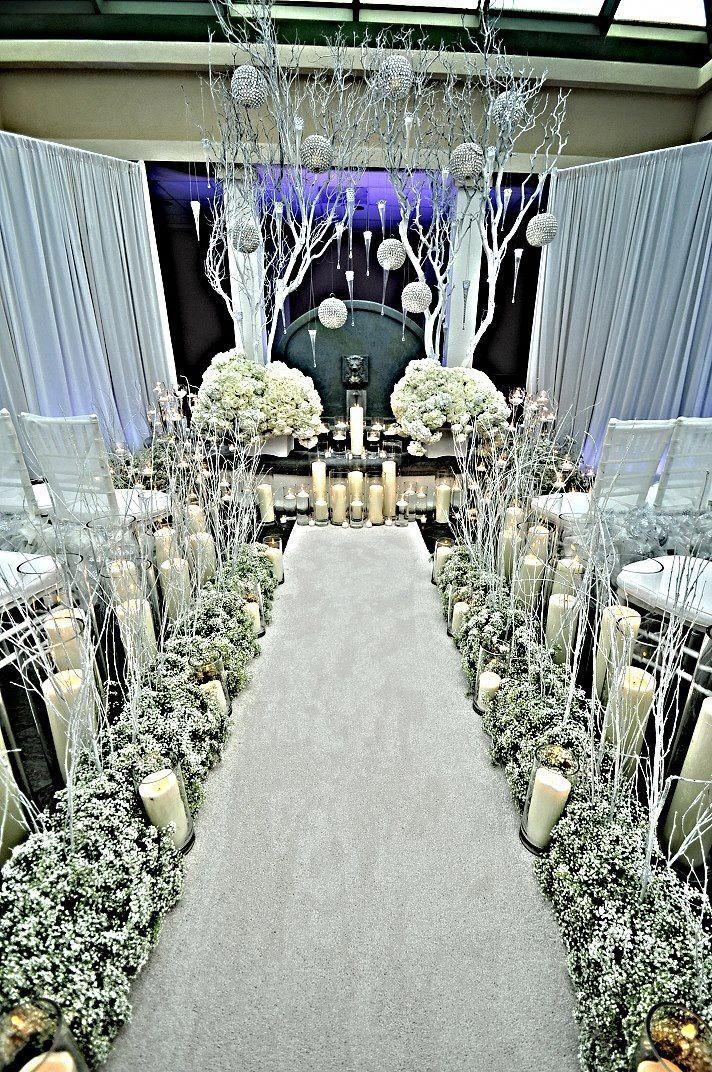 Weißer Winter-Märchenland-Hochzeits-Zeremonie-Entwurf #winkdesign   – aisle
