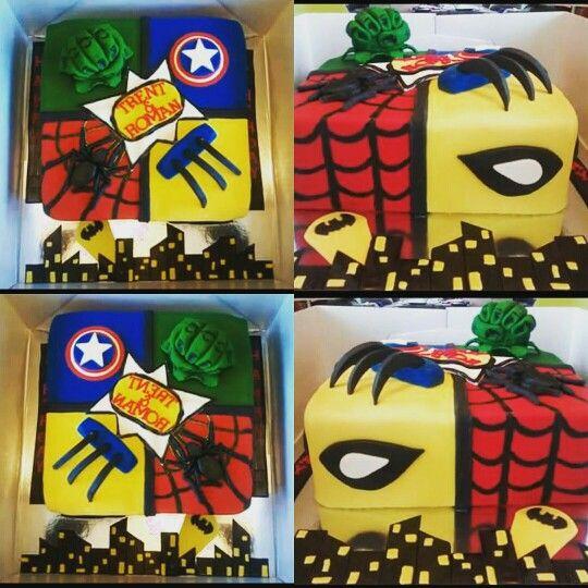 Marvel Superhero Cake ... love this cake!  Vanilla marble rainbow cake with fondant.  Visit us at www.facebook.com/totaleventplanning