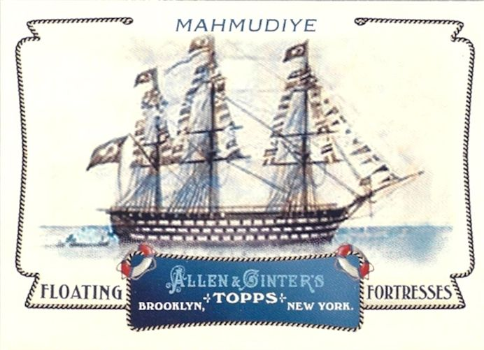 Floating Fortresses,  Mahmudiye was a ship of the line of the Ottoman Navy. She was a three-masted three-decked 128-gunned sailing ship, which could perhaps be considered to be one of the few completed heavy-first rate battleships. Mahmudiye, with a roaring lion as the ship's figurehead, was intended to serve to reconstitute the morale of the nation after the loss of the fleet at the Battle of Navarino in 1827. The flagship was for many years the largest warship in the world.
