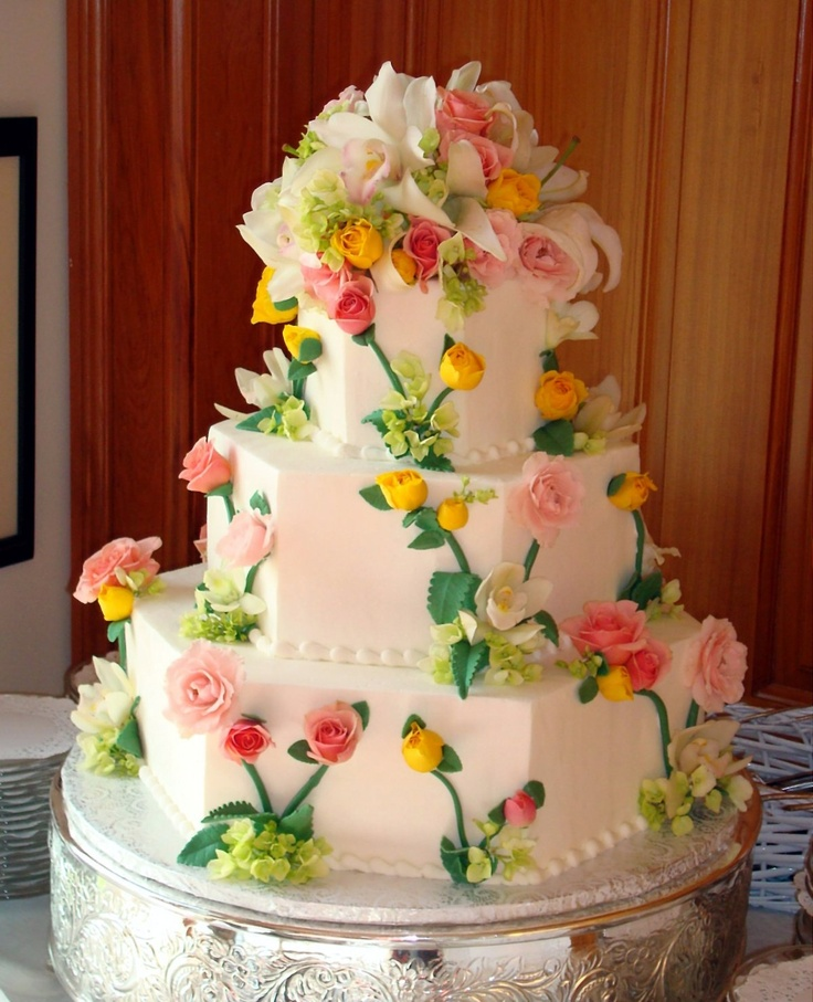 Just Desserts :: Outer Banks Wedding Cakes - Floral Cakes and Fresh FruitDesigns - something similar to this could be really beautiful - just san the decoration on top, a little less busy in general, and choosing flowers that match our theme