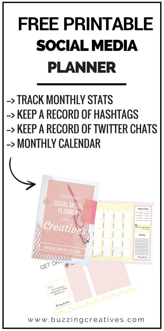 Social Media Planner Printable Free Social Media Marketing