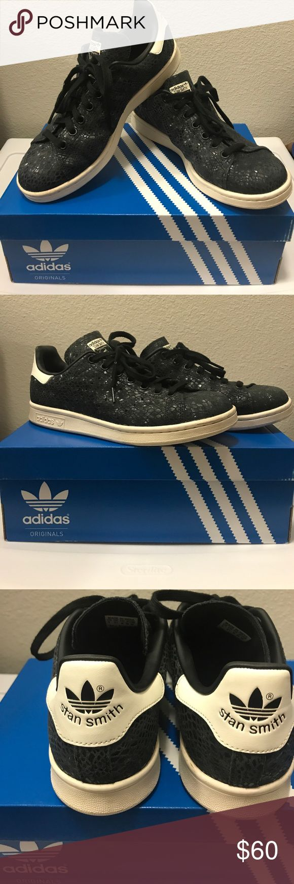 "Pre-Owned ""ADIDAS STAN SMITH"" ©™ Pre-Owned ""ADIDAS STAN SMITH SNAKE CORE BLACK"".  Size: 8W.  Color: Black/white.  In very good conditon, seldom used.  Does not come with the original box. Adidas Shoes Sneakers"