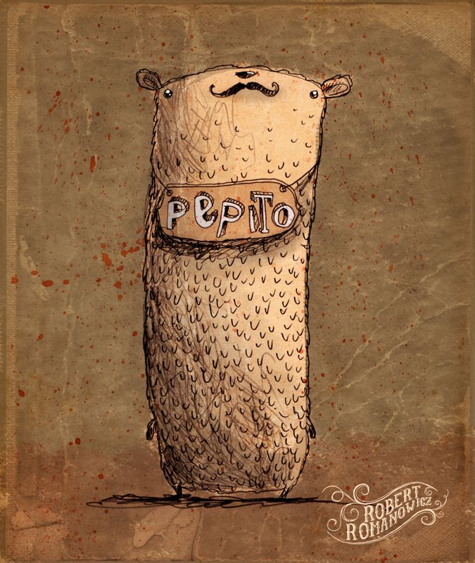 Pepito by Robert Romanowicz #sketches #bear #robertromanowicz #mustache #retro #vintage #oldpaper #characterdesign #character