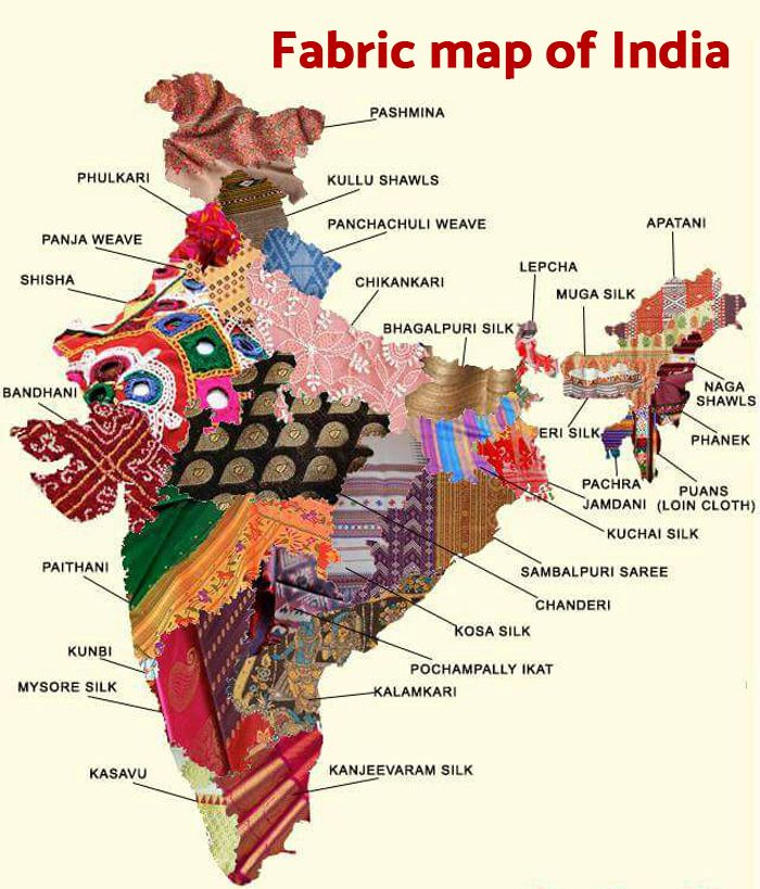 Every state has its own cultural identity, not just the outfits, but even the fabric used to make them is unique to each state of India. From Kashmir to Kanyakumari, every region has its own handloom techniques that are used to weave many unique fabrics.  Cool, amazing Fabric Tour of India!