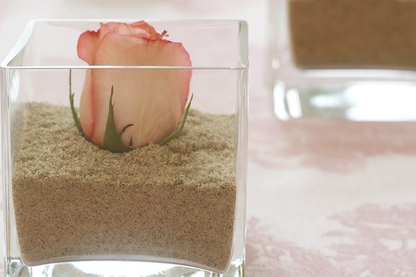 Rose In Sand Centerpiece; maybe add some shells to the vase?